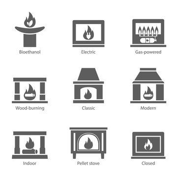 Fireplace icons set vector