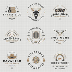 Set of Hipster Vintage Labels, Logotypes, Badges for Your Business. Wild West Theme. Barrel, Scull, Cards, Wheel, Saloon, Gun, Hat, Sheriff. Vector Illustration