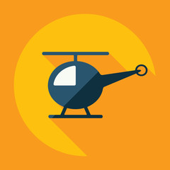 Flat modern design with shadow, helicopter