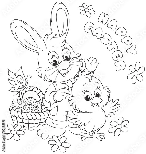 """""""Bunny and Chick saying Happy Easter and waving in ..."""