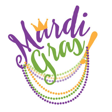 Mardi Gras cheerful text with beads flat design.