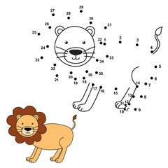 Connect the dots to draw the cute lion and color it. Educational numbers and coloring game for children. Vector illustration