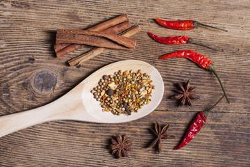 indisches Curry auf Holzlöffel