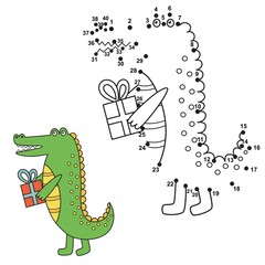 Connect the dots to draw the cute alligator and color it. Educational numbers and coloring game for children. Vector illustration