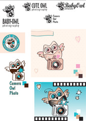 Cute Baby-Owl Photographer vector logo variations. Owl with a camera. Black and white. Color. Decorative elements
