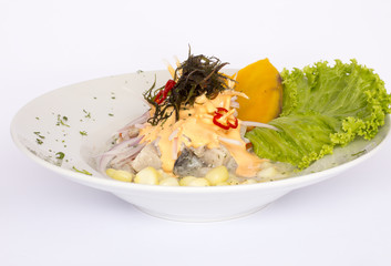 Peruvian food: Fish ceviche in rocoto cream.