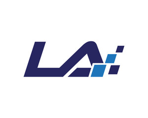 LA digital letter logo