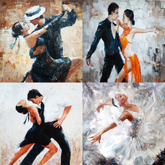tango dancers, oil painting, girl ballerina. 4 IN 1