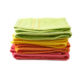 Pile of colorful towels isolated