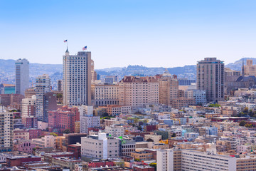 Fototapete - Panorama of San Francisco downtown district