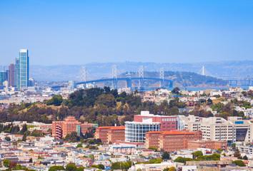 Wall Mural - San Francisco Oakland Bay Bridge behind the city