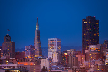 Fototapete - Evening view on San Francisco downtown