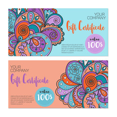 Colorful gift certificate template. Bright ornamental background.