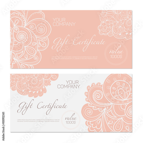 Elegant Gift Certificate Template Abstract Ornamental Background