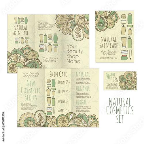 Printable set for cosmetics shop brochure leaflet and business brochure leaflet and business card templates natural skin colourmoves