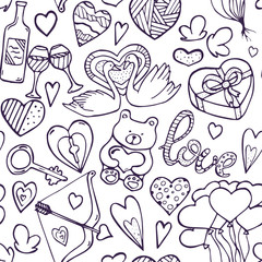 Nice hand drawn doodle seamless pattern on Valentine's day theme. Beautiful repeated ornament for web, banners and printable materials.