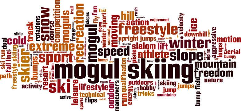 Mogul skiing word cloud concept. Vector illustration
