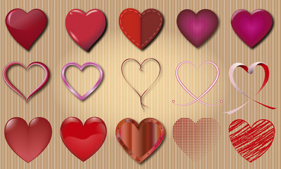 set of vector heart varied and colorful