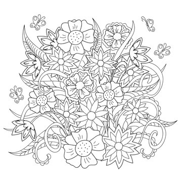 doodle flowers, herb and butterfly