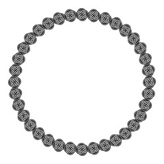 Black and white round frame with celtic ornament