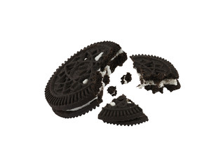 Close up isolated black cookies like oreo against hite background, computer ggenerated image in high definition