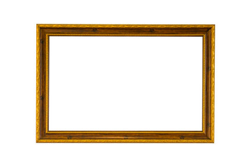 Gold vintage frame on white isolated background with clipping pa