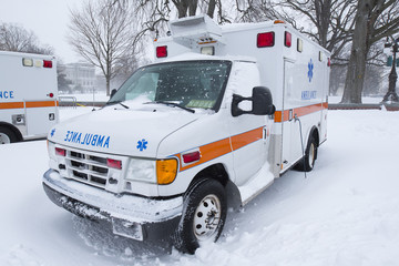 Ambulance covered snow
