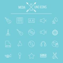 Media icon set.