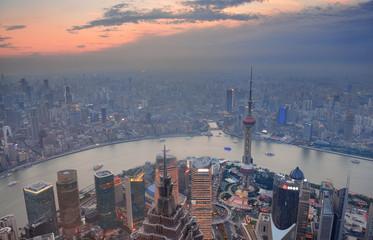 Fototapete - Shanghai sunset