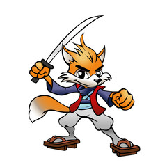 Mascot Samurai Fox