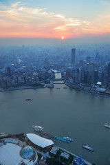 Wall Mural - Shanghai aerial at sunset