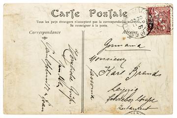 Used vintage handwritten postcard letter