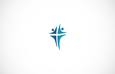 abstract cross people logo