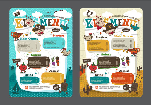 Cute colorful kids meal menu vector template with pirate cartoon and cowboy cartoon