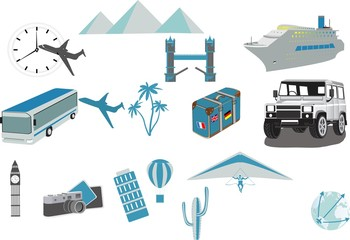 Travel icons symbol collection. Vector illustration. Car, bus, plane, ship