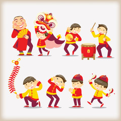 Cartoon Chinese people
