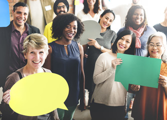 People Global Communications Speech Bubble Copy Space Concept