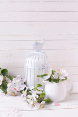 Background with  apple blossom and candle in decorative bird cag