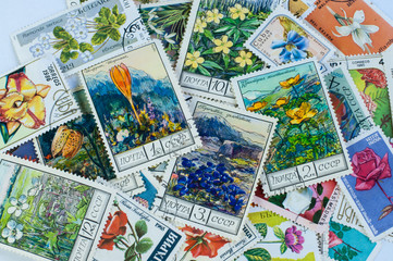 Collection of floral post stamps