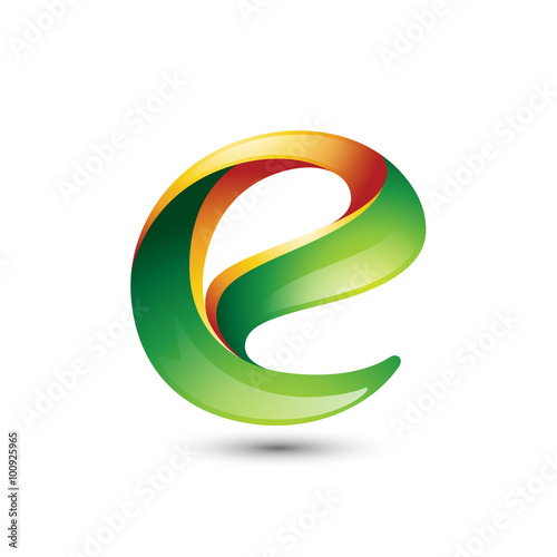 Natural Fresh 3D Letter E Logo