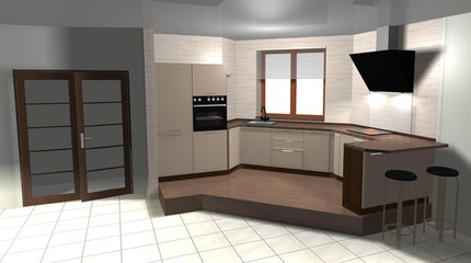 brown beige  kitchen in a modern style, interior design 3D rendering illustration