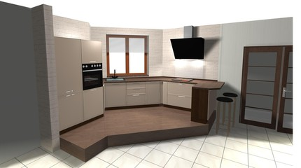 beige brown  kitchen in a modern style, interior design 3D rendering illustration
