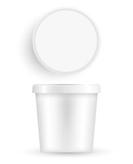 Plastic Bucket : Ice cream or Yogurt Container : Vector Illustration