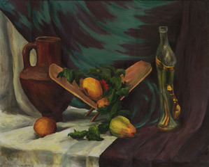 Still life with fruit, jug and a glass bottle. Oil painting