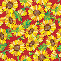 Seamless pattern with sunflowers on a red background