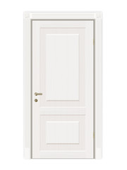 Vector closed white door. Isolated on white background.