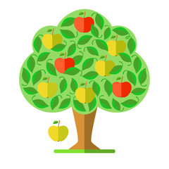 Apple tree. Flat design. Vector illustration.