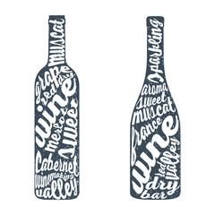 Hand lettering bottle of wine.