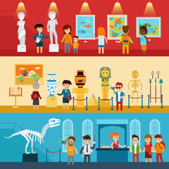 Art gallery visitors and antique museum of paleontology flat banners abstract isolated vector illustration. People look at the exhibition with guide, excursion to the museum. Infographic elements.
