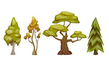 Set of four trees pine, birch, oak, aspen. Vector illustration